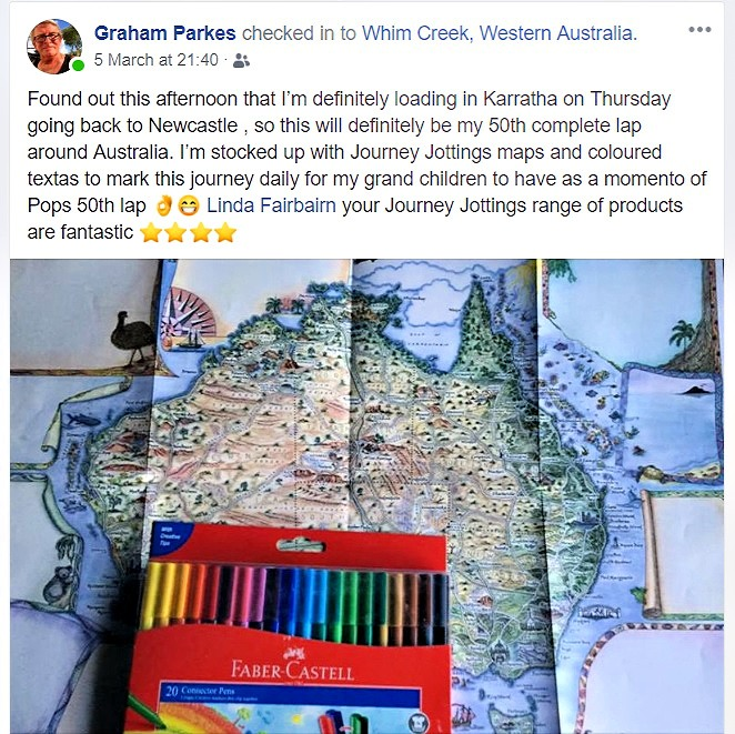 Facebook Post by Graham the truck driver about his completing his 50th Big Lap of Australia