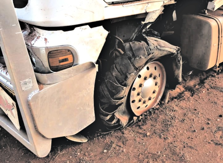 Blown out tyre on a truck