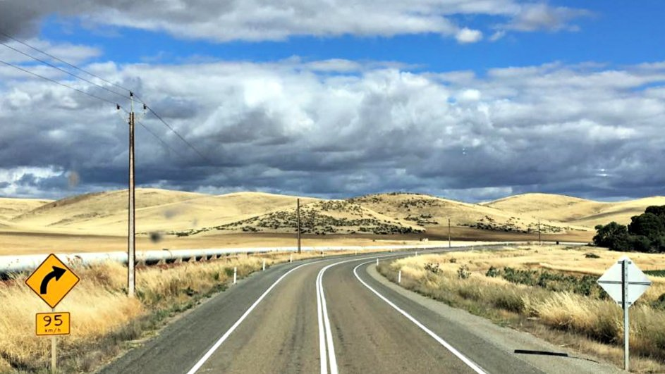 View through the windscreen of a truck doing the Big Lap around Australia