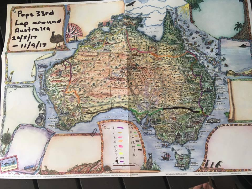 Pictorial Map of Australia showing Graham's route as he drove for the 33rd time aroun Australia