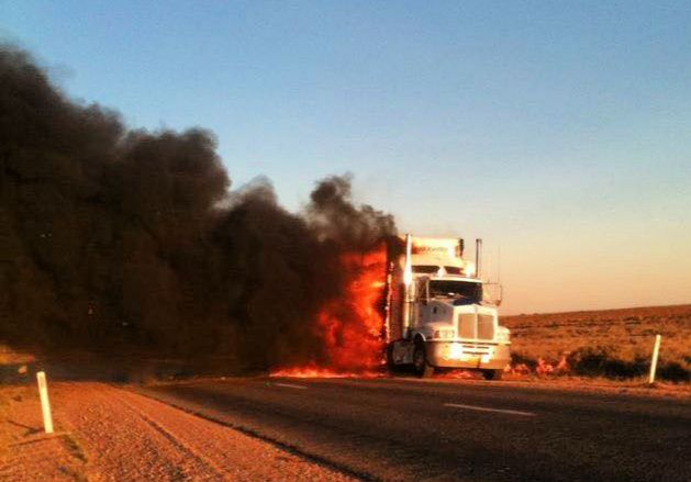 Truck in Australia that has caught on fire
