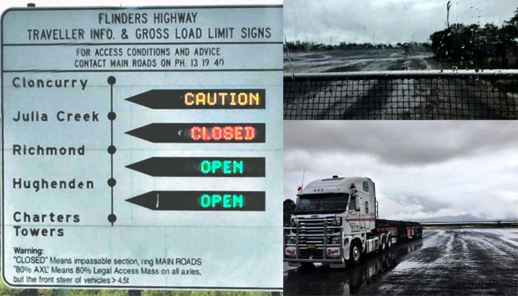 Sign showing rain closed the road in north Australia