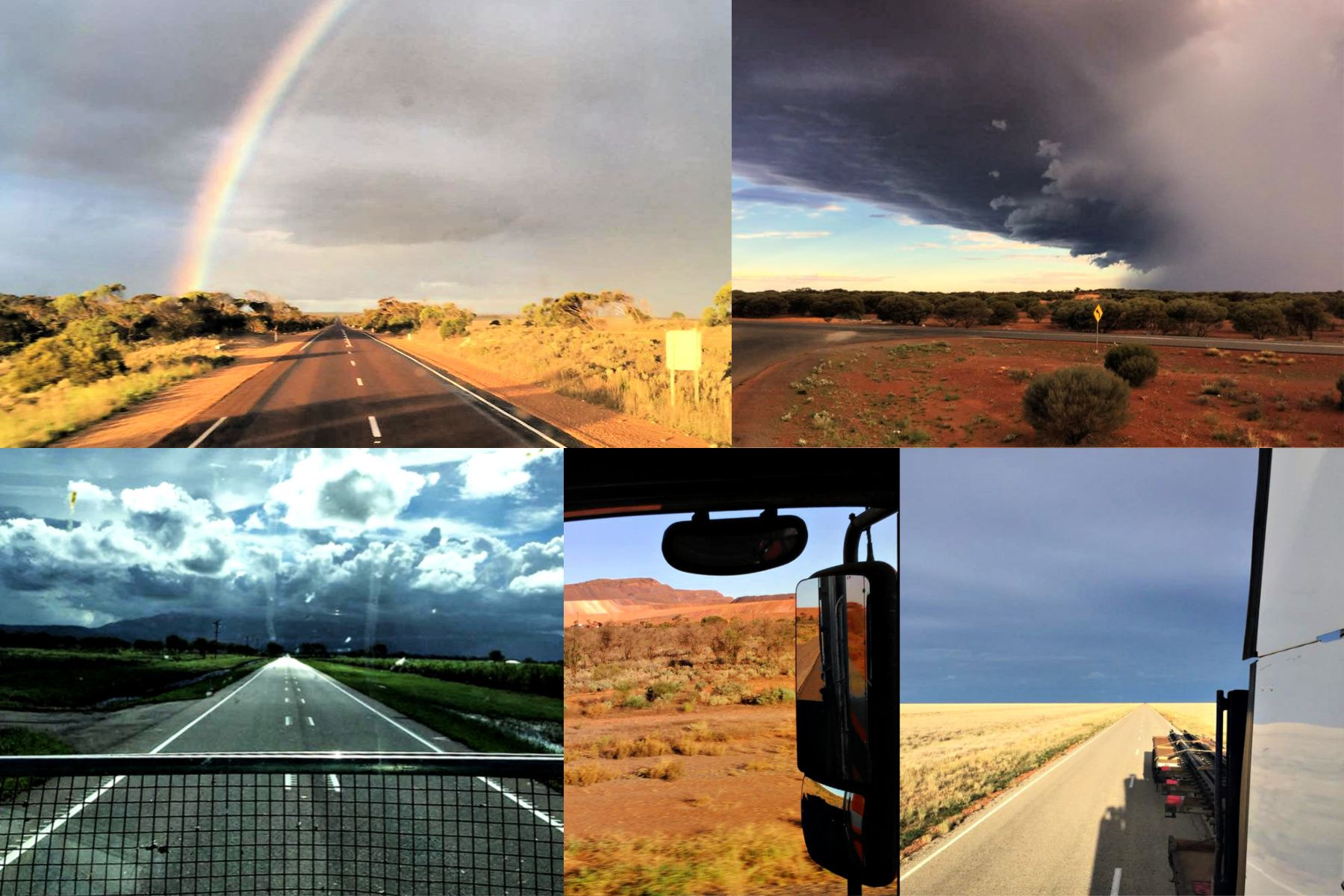 Collage of images from across Australia as seen by a long distance truck driver