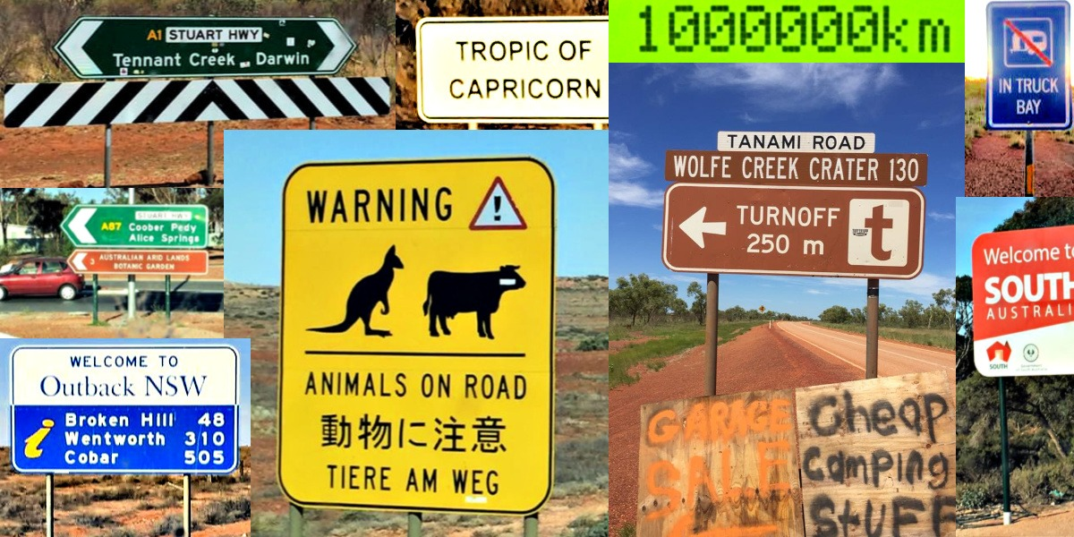 Road signs seen while driving the Big Lap