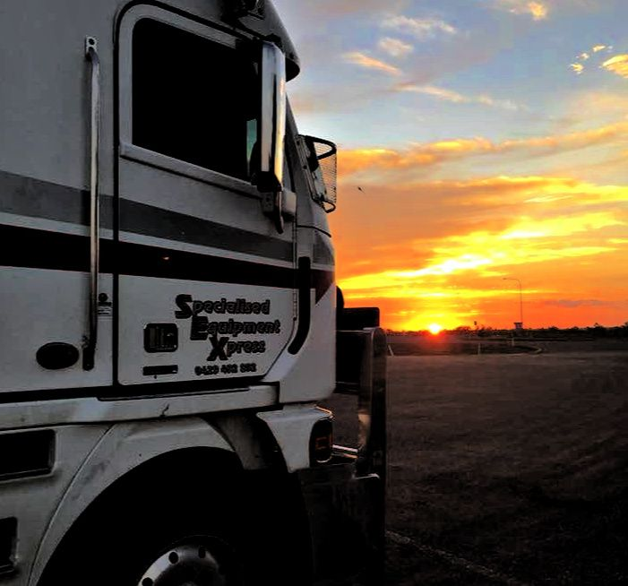 Sunset in Australia with a truck in the foreground