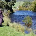 Linda Fairbairn walking along the River Levan in NW Tasmania