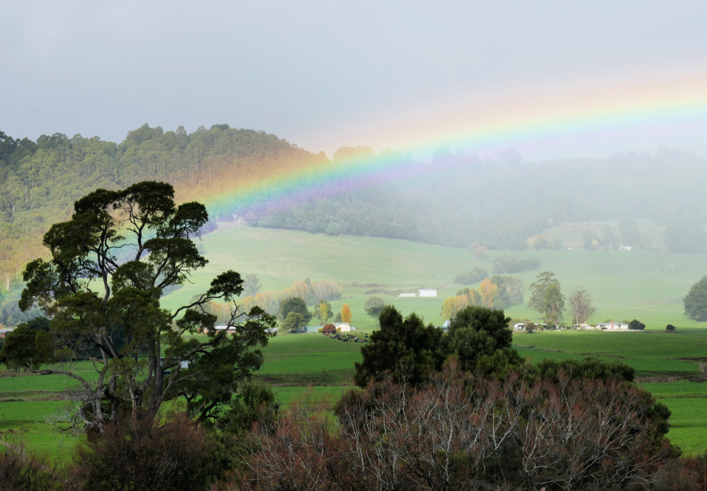The beautiful Guns Plains Valley in NW Tasmania under an arching rainbow