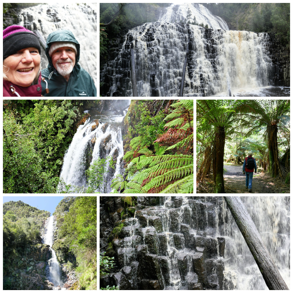 A collage of waterfalls in NW Tasmania